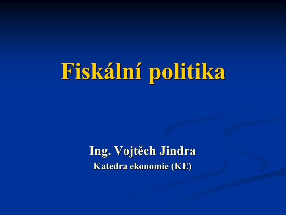Fiskální politika Ing. Vojtěch Jindra Katedra ekonomie (KE)