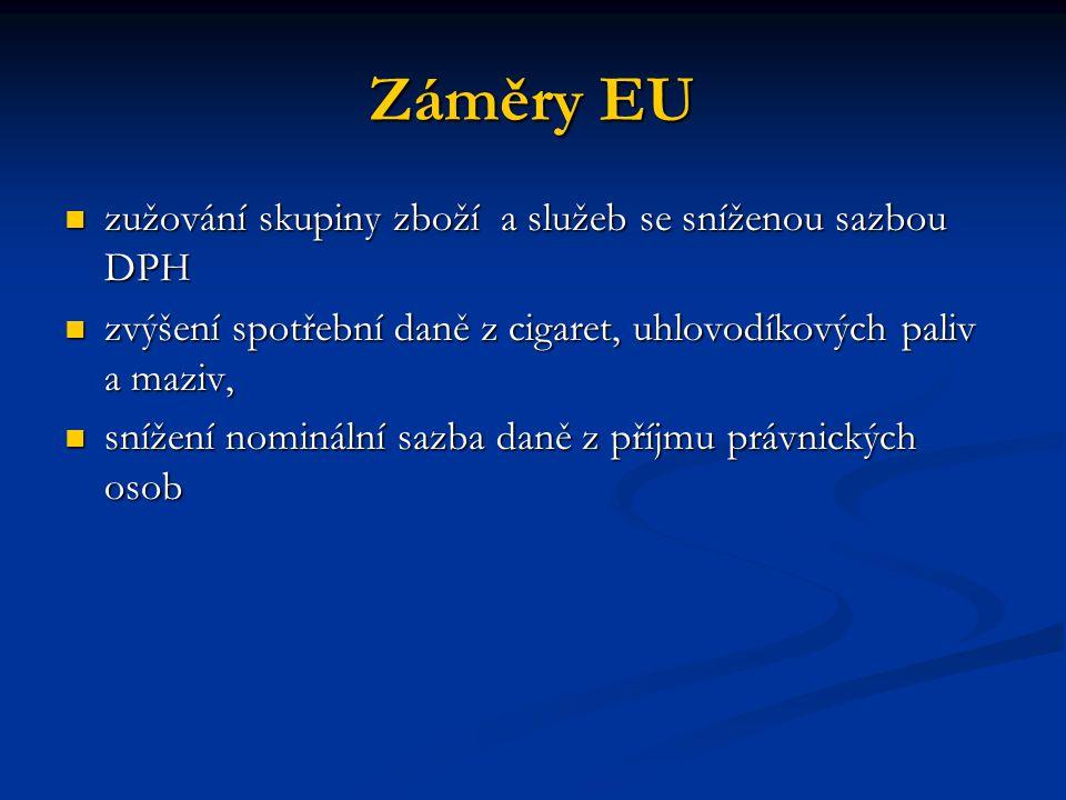 Záměry EU zužování skupiny zboží a služeb se sníženou sazbou DPH zužování skupiny zboží a služeb se sníženou sazbou DPH zvýšení spotřební daně z cigar