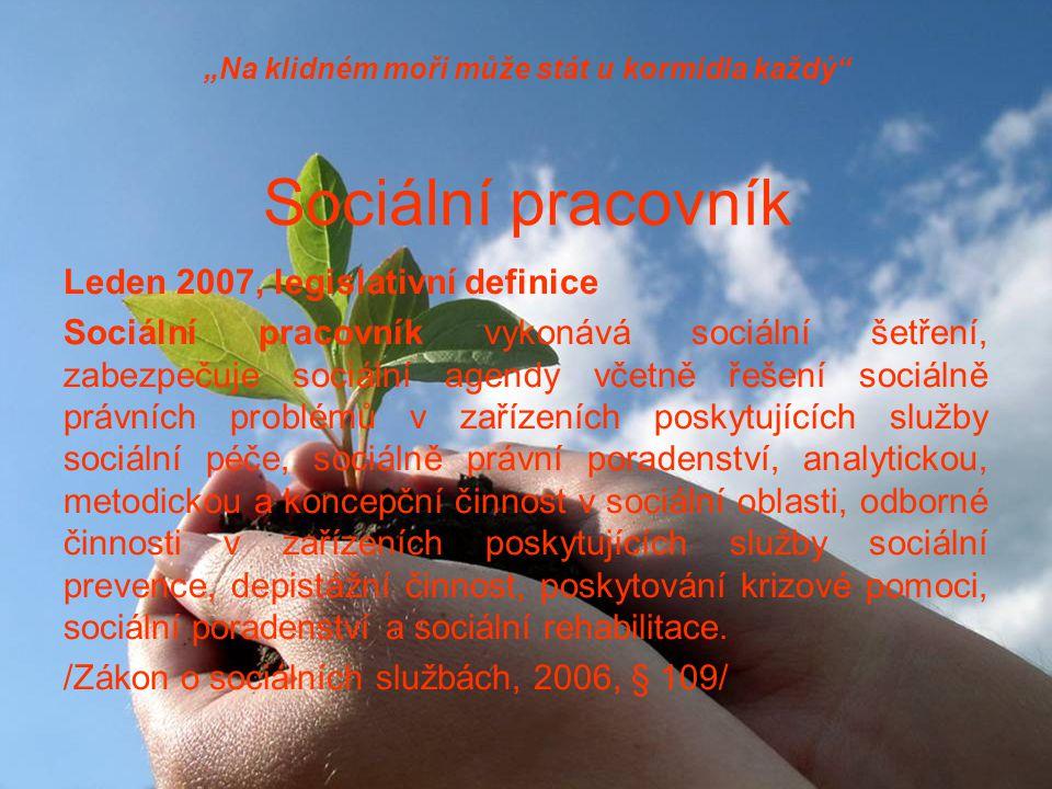 """""""Na klidném moři může stát u kormidla každý Sociální pracovník Leden 2007, legislativní definice Sociální pracovník vykonává sociální šetření, zabezpečuje sociální agendy včetně řešení sociálně právních problémů v zařízeních poskytujících služby sociální péče, sociálně právní poradenství, analytickou, metodickou a koncepční činnost v sociální oblasti, odborné činnosti v zařízeních poskytujících služby sociální prevence, depistážní činnost, poskytování krizové pomoci, sociální poradenství a sociální rehabilitace."""
