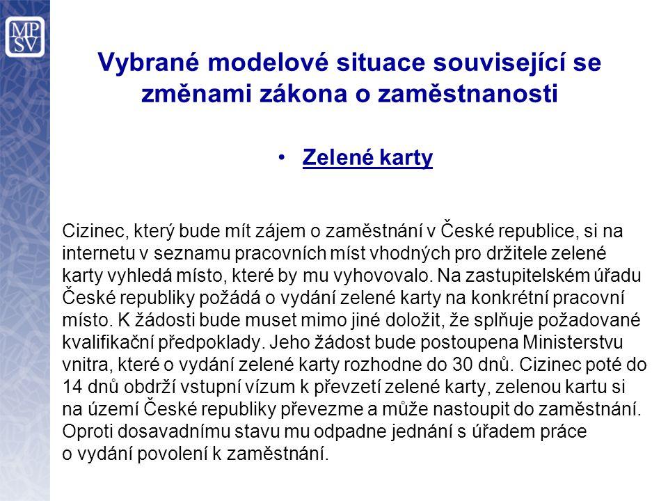 Vybrané modelové situace související se změnami zákona o zaměstnanosti Zelené karty Cizinec, který bude mít zájem o zaměstnání v České republice, si n