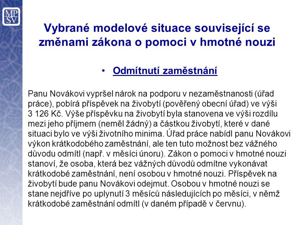 Vybrané modelové situace související se změnami zákona o pomoci v hmotné nouzi Odmítnutí zaměstnání Panu Novákovi vypršel nárok na podporu v nezaměstn