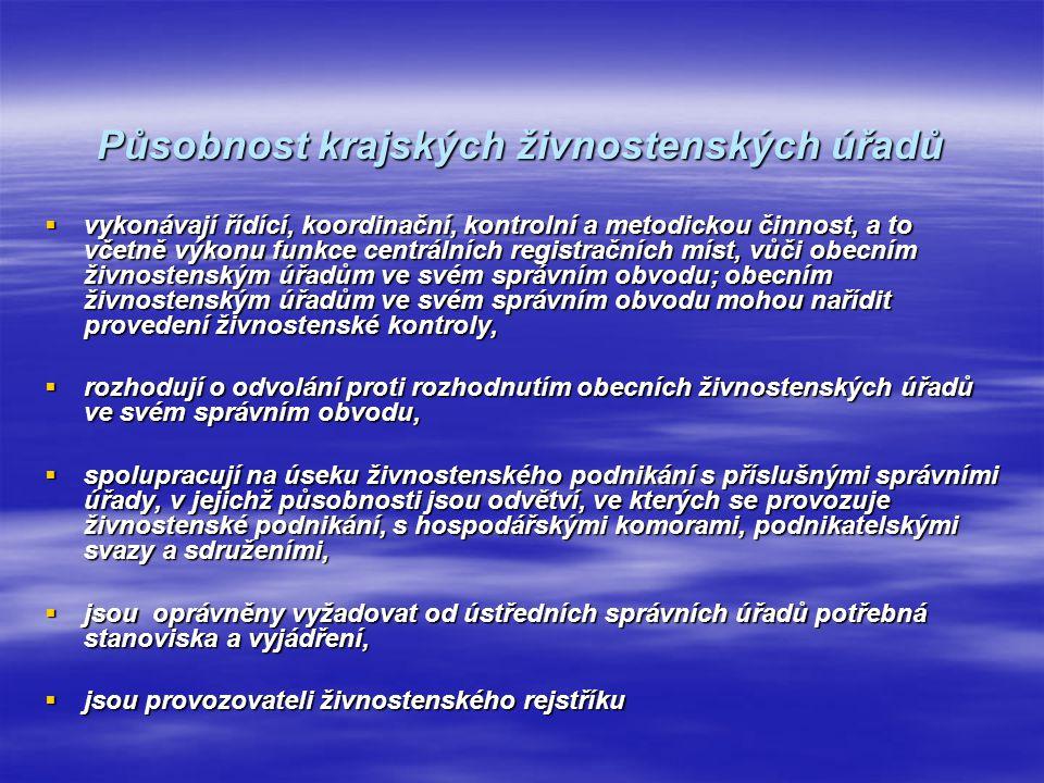 Živnostenský úřad České republiky  Dosud nebyl jako samostatný orgán zřízen.
