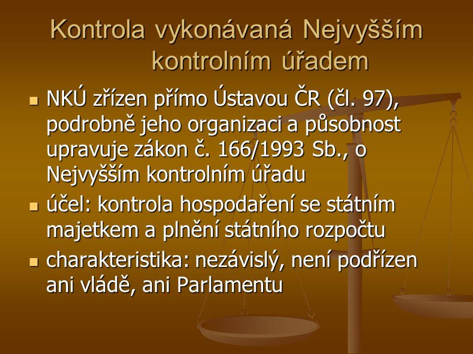 Kontrola vykonávaná Nejvyšším kontrolním úřadem NKÚ zřízen přímo Ústavou ČR (čl.