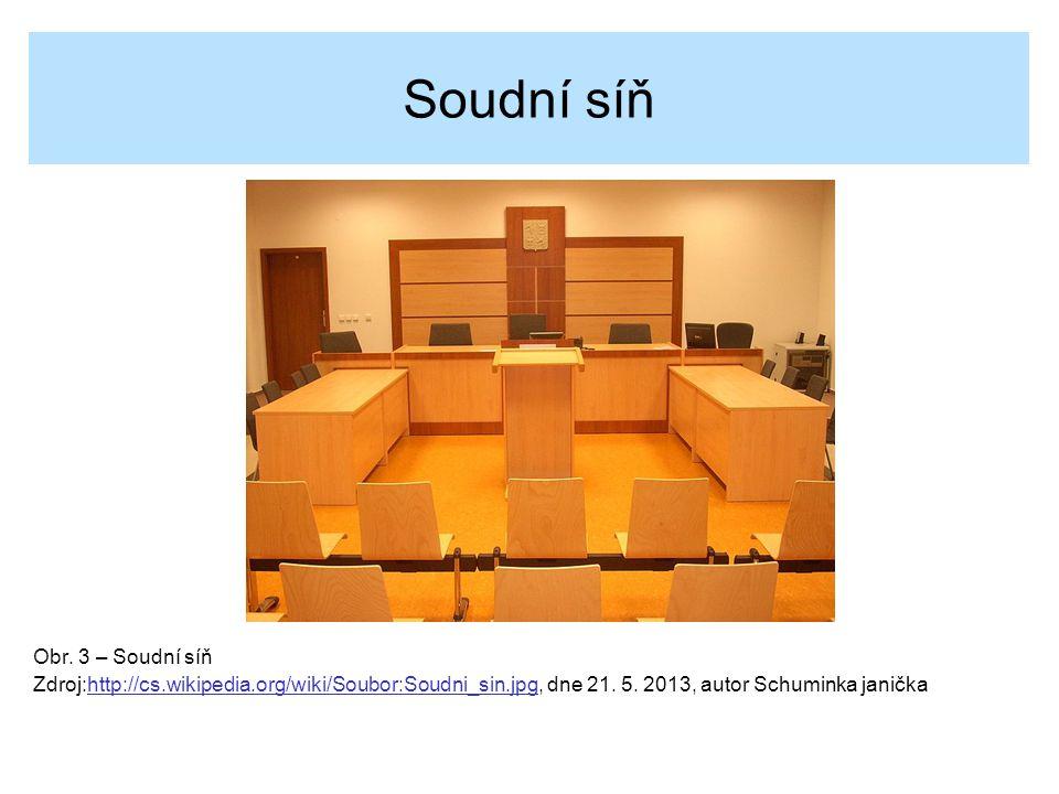 Soudní síň Obr. 3 – Soudní síň Zdroj:http://cs.wikipedia.org/wiki/Soubor:Soudni_sin.jpg, dne 21. 5. 2013, autor Schuminka janičkahttp://cs.wikipedia.o