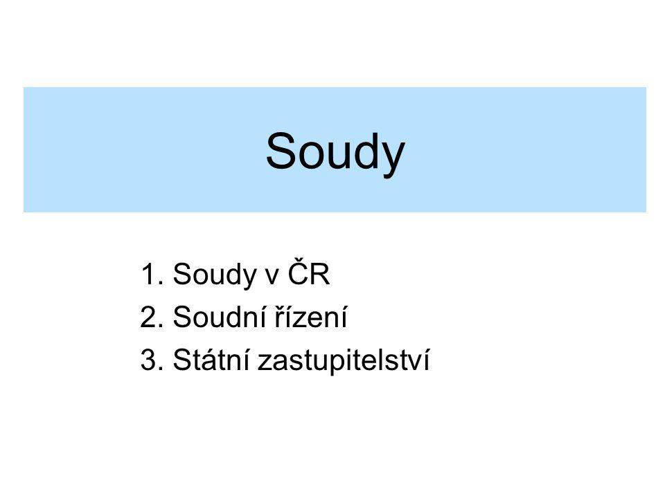 Soudy 1. Soudy v ČR 2. Soudní řízení 3. Státní zastupitelství
