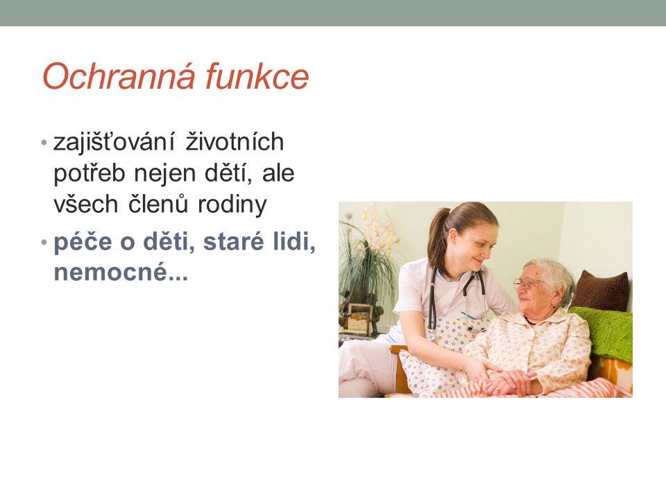Ochranná funkce zajišťování životních potřeb nejen dětí, ale všech členů rodiny péče o děti, staré lidi, nemocné...
