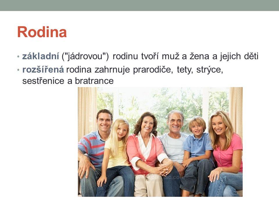 Rodina základní ( jádrovou ) rodinu tvoří muž a žena a jejich děti rozšířená rodina zahrnuje prarodiče, tety, strýce, sestřenice a bratrance