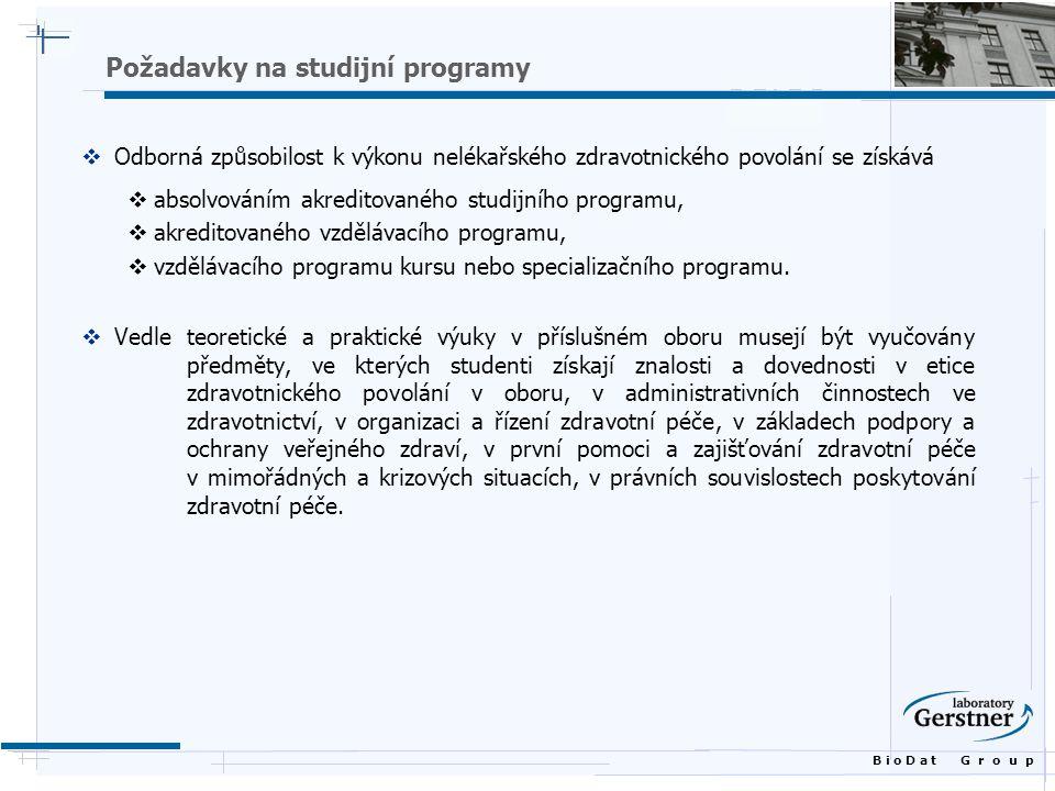 B i o D a t G r o u p Požadavky na studijní programy  Odborná způsobilost k výkonu nelékařského zdravotnického povolání se získává  absolvováním akreditovaného studijního programu,  akreditovaného vzdělávacího programu,  vzdělávacího programu kursu nebo specializačního programu.