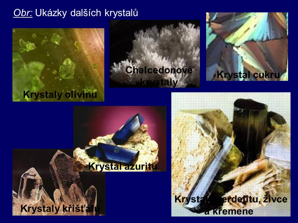 POLYKRYSTALY - -Složeny z velkého počtu drobných krystalků (zrn), ve kterých jsou částice uspořádány pravidelně - -jsou IZOTROPNÍ - -Př.: kovy, zeminy, prach Zrna polykrystalu Ni krystaly olova Krystaly pyritu Krystaly magnetitu