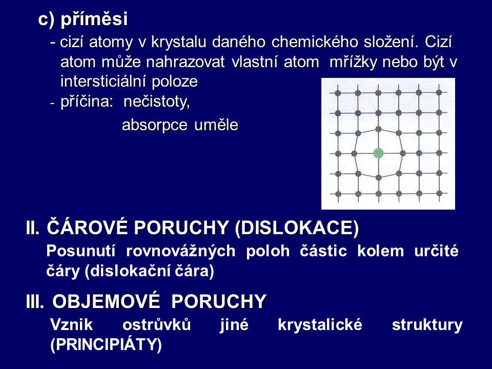 - chybějící částice v ideální mřížce I. BODOVÉ PORUCHY a) vakance - příčina: tepelný pohyb částic, ozáření krystalu ozáření krystalu - částice mimo pr