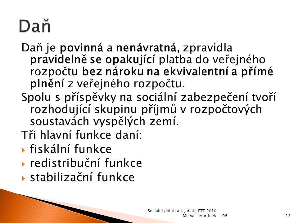 08 Sociální politika I. Jabok, ETF 2010 Michael Martinek12