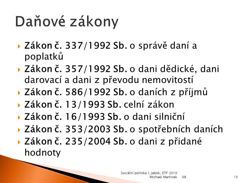 0814 Sociální politika I. Jabok, ETF 2010 Michael Martinek