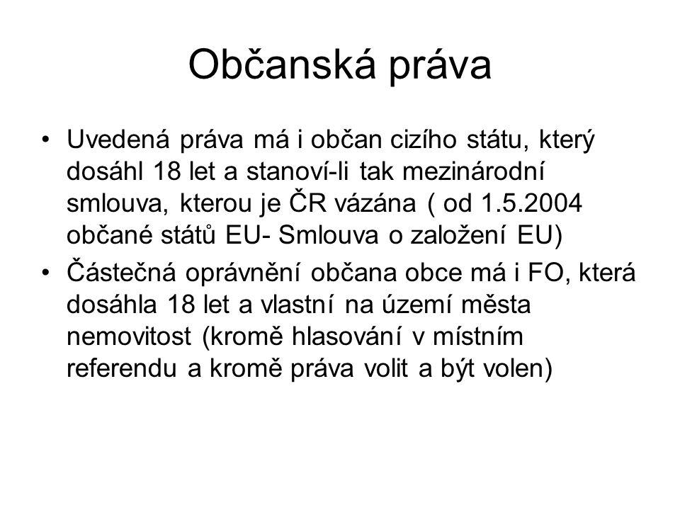 Občanská práva Uvedená práva má i občan cizího státu, který dosáhl 18 let a stanoví-li tak mezinárodní smlouva, kterou je ČR vázána ( od 1.5.2004 obča