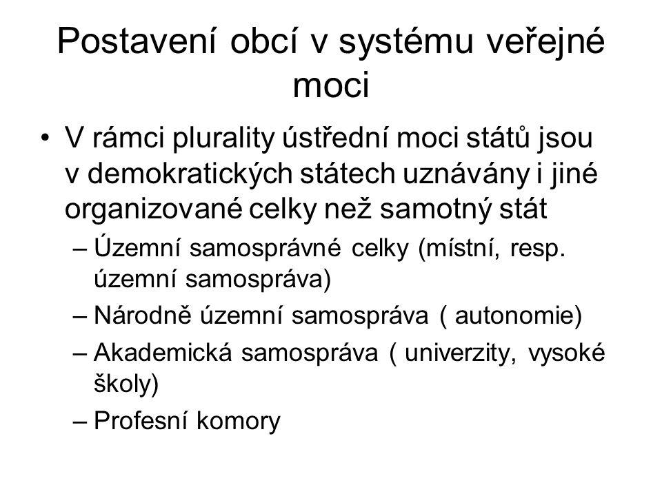Postavení obcí v systému veřejné moci V rámci plurality ústřední moci států jsou v demokratických státech uznávány i jiné organizované celky než samot