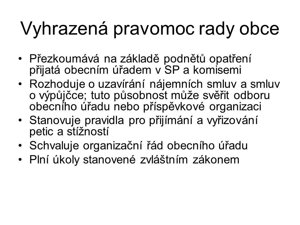 Vyhrazená pravomoc rady obce Přezkoumává na základě podnětů opatření přijatá obecním úřadem v SP a komisemi Rozhoduje o uzavírání nájemních smluv a sm