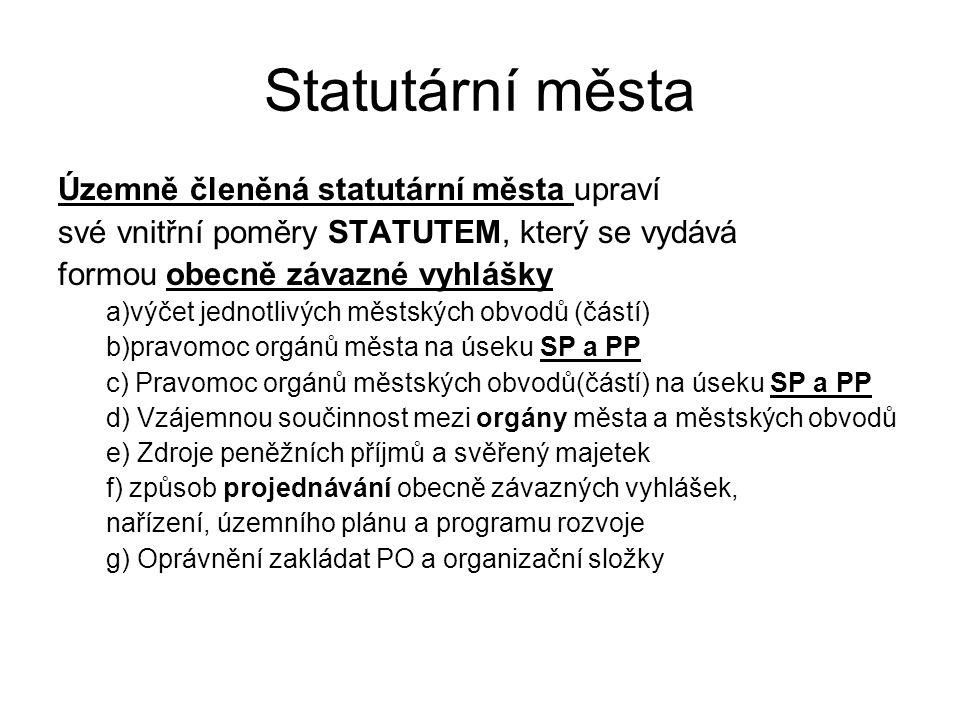 Statutární města Územně členěná statutární města upraví své vnitřní poměry STATUTEM, který se vydává formou obecně závazné vyhlášky a)výčet jednotlivý