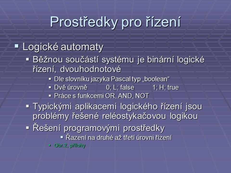 Prostředky pro řízení  Řídicí počítače  Vyšší funkce řízení, vykonávané na 2.