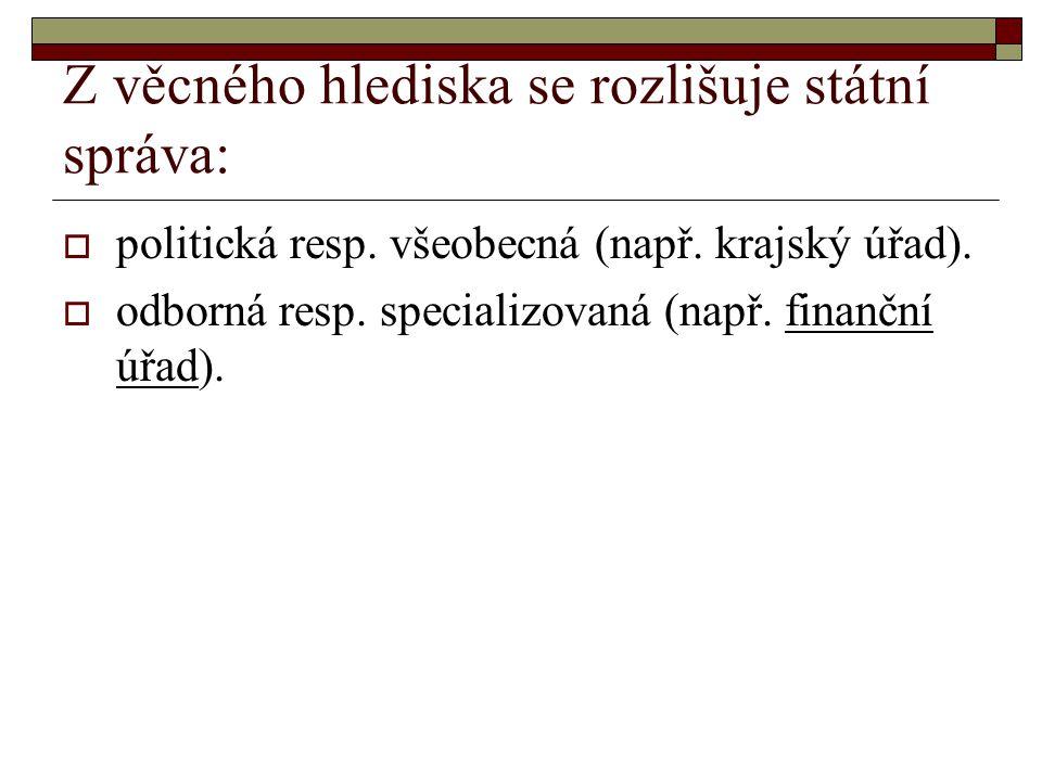 Z věcného hlediska se rozlišuje státní správa:  politická resp.