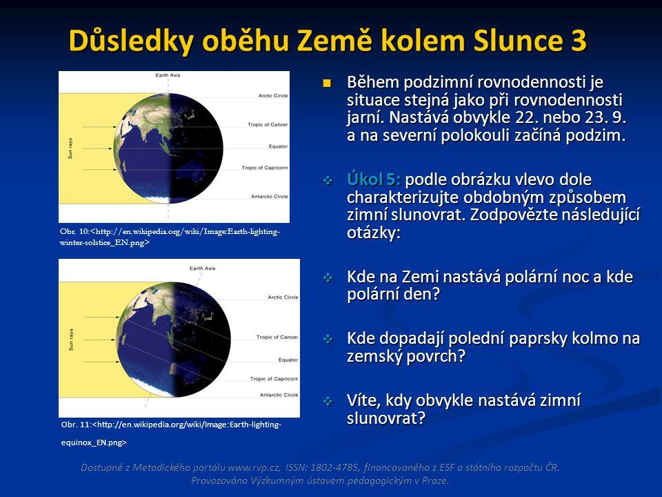 Důsledky oběhu Země kolem Slunce 3 Během podzimní rovnodennosti je situace stejná jako při rovnodennosti jarní.