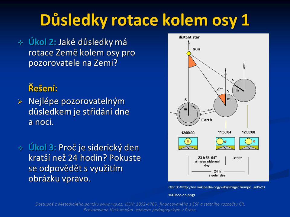 Důsledky rotace kolem osy 1  Úkol 2: Jaké důsledky má rotace Země kolem osy pro pozorovatele na Zemi.