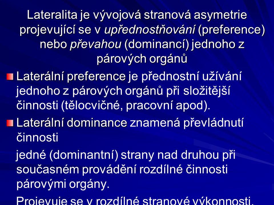 Lateralita je vývojová stranová asymetrie projevující se v upřednostňování (preference) nebo převahou (dominancí) jednoho z párových orgánů Laterální
