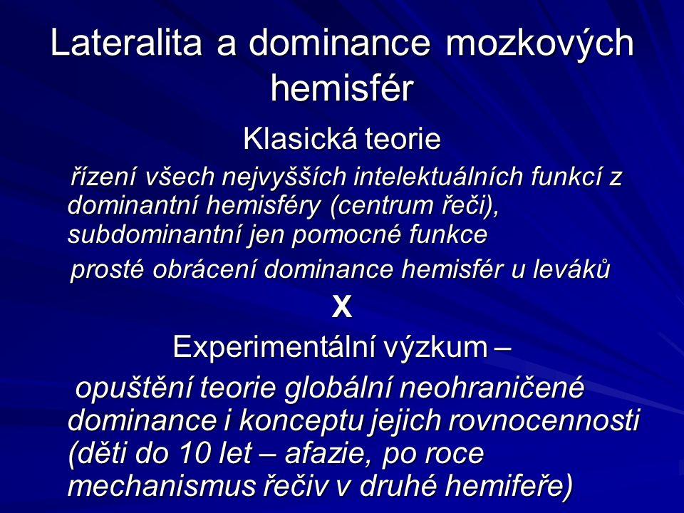 Lateralita a dominance mozkových hemisfér Klasická teorie řízení všech nejvyšších intelektuálních funkcí z dominantní hemisféry (centrum řeči), subdom