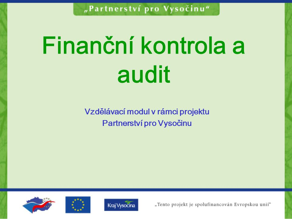Finanční kontrola a audit Vzdělávací modul v rámci projektu Partnerství pro Vysočinu