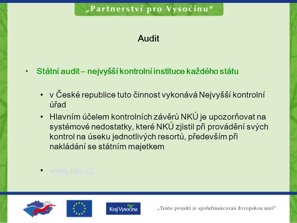 Audit Státní audit – nejvyšší kontrolní instituce každého státu v České republice tuto činnost vykonává Nejvyšší kontrolní úřad Hlavním účelem kontrol