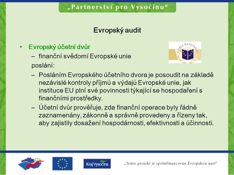 Evropský audit Evropský účetní dvůr –finanční svědomí Evropské unie poslání: –Posláním Evropského účetního dvora je posoudit na základě nezávislé kont