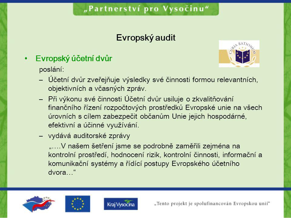 Evropský audit Evropský účetní dvůr poslání: –Účetní dvůr zveřejňuje výsledky své činnosti formou relevantních, objektivních a včasných zpráv. –Při vý