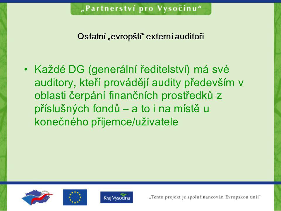 """Ostatní """"evropští"""" externí auditoři Každé DG (generální ředitelství) má své auditory, kteří provádějí audity především v oblasti čerpání finančních pr"""