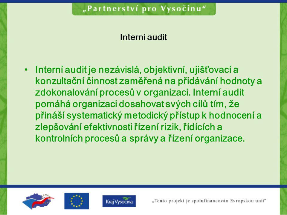 Interní audit Interní audit je nezávislá, objektivní, ujišťovací a konzultační činnost zaměřená na přidávání hodnoty a zdokonalování procesů v organiz
