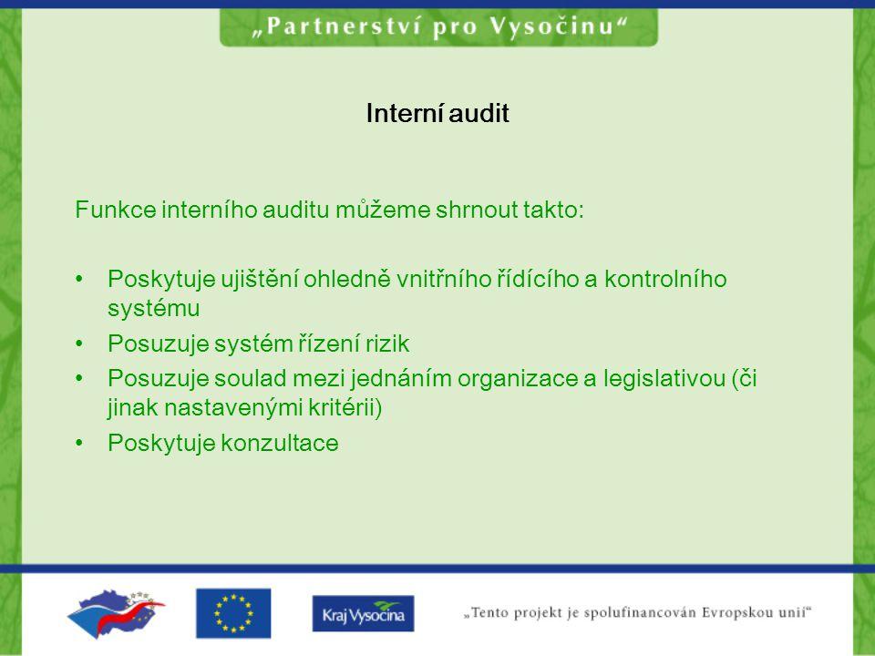 Interní audit Funkce interního auditu můžeme shrnout takto: Poskytuje ujištění ohledně vnitřního řídícího a kontrolního systému Posuzuje systém řízení