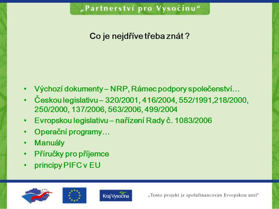 Co je nejdříve třeba znát ? Výchozí dokumenty – NRP, Rámec podpory společenství… Českou legislativu – 320/2001, 416/2004, 552/1991,218/2000, 250/2000,