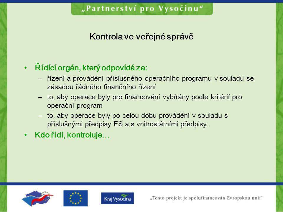 Kontrola ve veřejné správě Řídící orgán, který odpovídá za: –řízení a provádění příslušného operačního programu v souladu se zásadou řádného finančníh