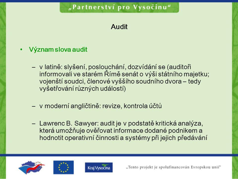 Audit Význam slova audit –v latině: slyšení, poslouchání, dozvídání se (auditoři informovali ve starém Římě senát o výši státního majetku; vojenští so