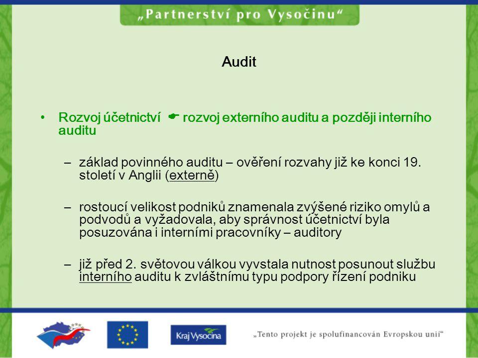 Interní audit Funkce interního auditu můžeme shrnout takto: Poskytuje ujištění ohledně vnitřního řídícího a kontrolního systému Posuzuje systém řízení rizik Posuzuje soulad mezi jednáním organizace a legislativou (či jinak nastavenými kritérii) Poskytuje konzultace