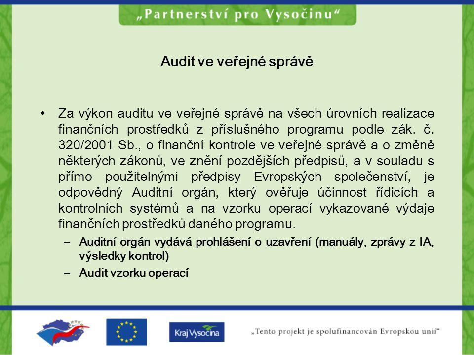 Audit ve veřejné správě Za výkon auditu ve veřejné správě na všech úrovních realizace finančních prostředků z příslušného programu podle zák. č. 320/2