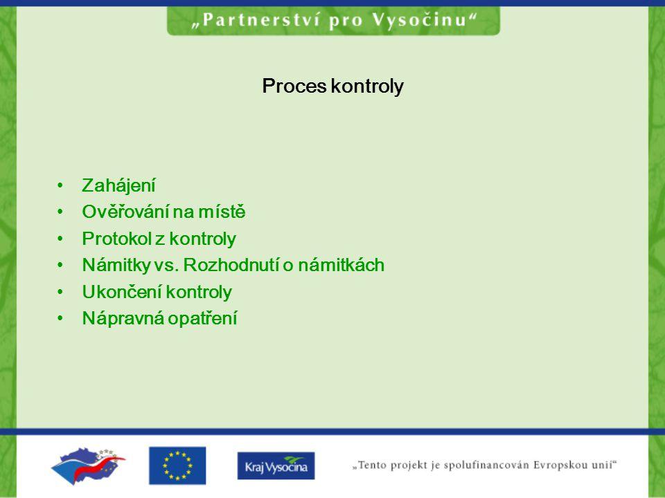 Proces kontroly Zahájení Ověřování na místě Protokol z kontroly Námitky vs. Rozhodnutí o námitkách Ukončení kontroly Nápravná opatření
