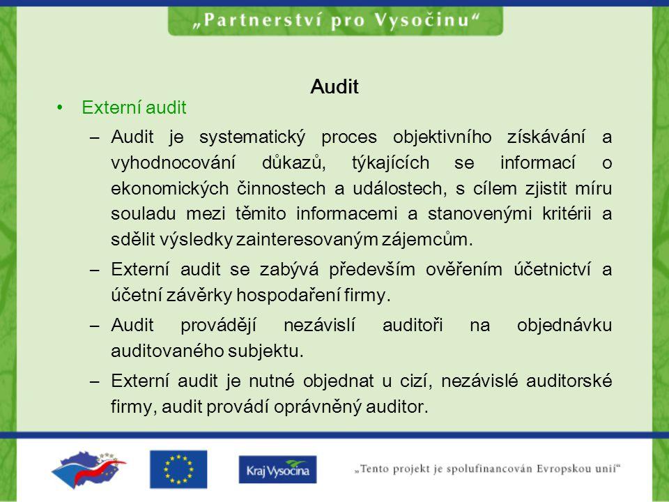 Audit Externí audit –Audit je systematický proces objektivního získávání a vyhodnocování důkazů, týkajících se informací o ekonomických činnostech a u