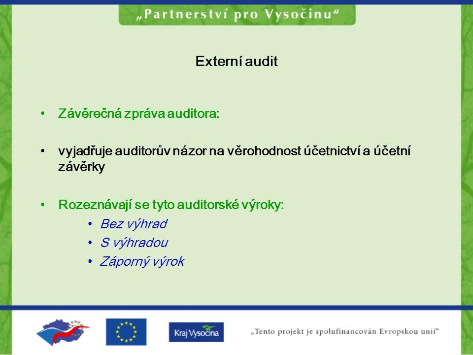 Externí audit Závěrečná zpráva auditora: vyjadřuje auditorův názor na věrohodnost účetnictví a účetní závěrky Rozeznávají se tyto auditorské výroky: B