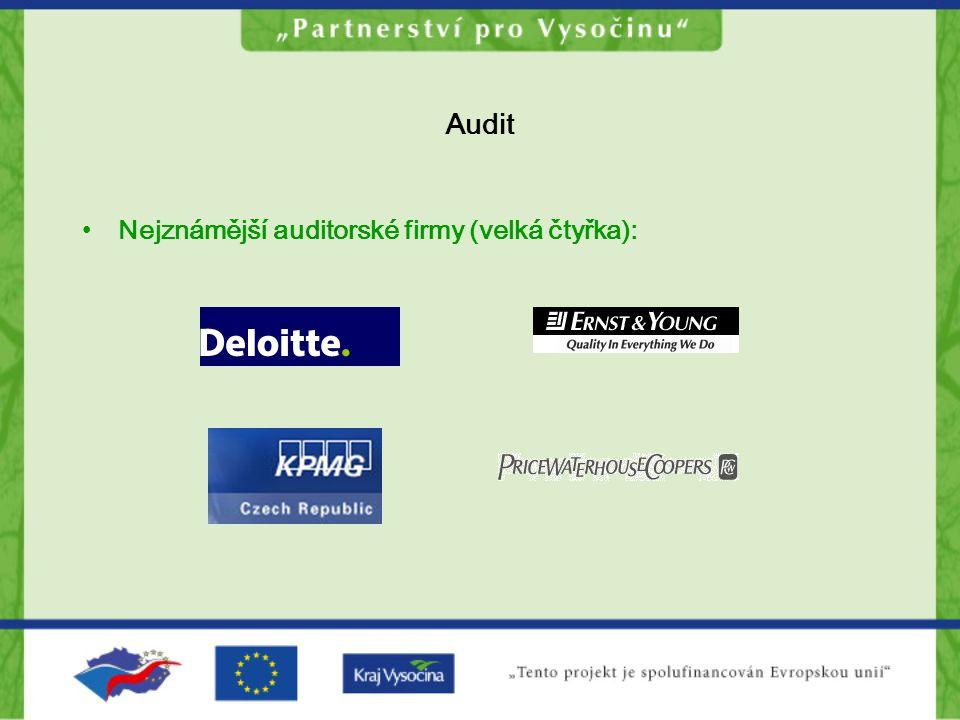 Interní audit Nezávislost interního auditu Je oddělen od všech částí organizace, které jsou předmětem auditu Má vymezenou autoritu rozhodnutím nejvyšších řídících orgánů, např.