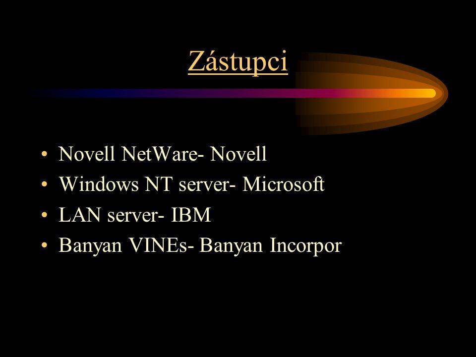 Zástupci Novell NetWare- Novell Windows NT server- Microsoft LAN server- IBM Banyan VINEs- Banyan Incorpor