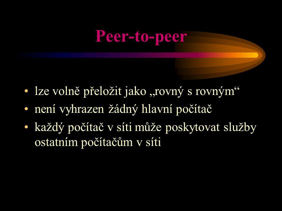 """Peer-to-peer lze volně přeložit jako """"rovný s rovným"""" není vyhrazen žádný hlavní počítač každý počítač v síti může poskytovat služby ostatním počítačů"""