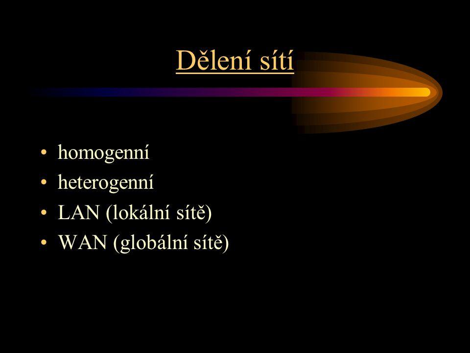 Dělení sítí homogenní heterogenní LAN (lokální sítě) WAN (globální sítě)