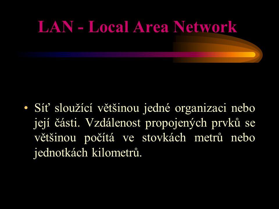LAN - Local Area Network Síť sloužící většinou jedné organizaci nebo její části. Vzdálenost propojených prvků se většinou počítá ve stovkách metrů neb