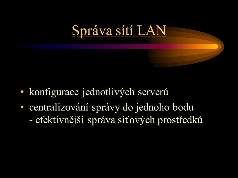 Správa sítí LAN konfigurace jednotlivých serverů centralizování správy do jednoho bodu - efektivnější správa síťových prostředků