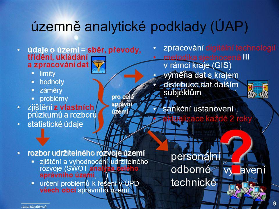 Jana Kaválková 9 územně analytické podklady (ÚAP) údaje o území = sběr, převody, třídění, ukládání a zpracování dat  limity  hodnoty  záměry  problémy zjištění z vlastních průzkumů a rozborů statistické údaje rozbor udržitelného rozvoje územírozbor udržitelného rozvoje území  zjištění a vyhodnocení udržitelného rozvoje (SWOT analýza celého správního území, …)  určení problémů k řešení v ÚPD všech obcí správního území zpracování digitální technologií metodika sjednocená !!.