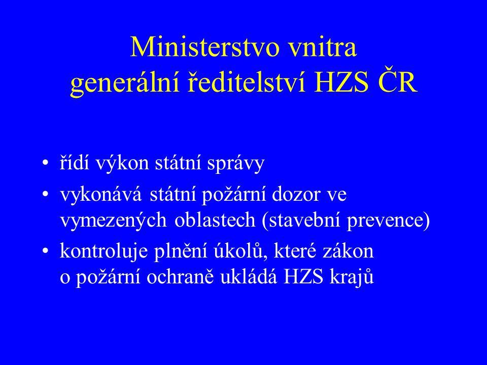 Ministerstvo vnitra generální ředitelství HZS ČR řídí výkon státní správy vykonává státní požární dozor ve vymezených oblastech (stavební prevence) ko