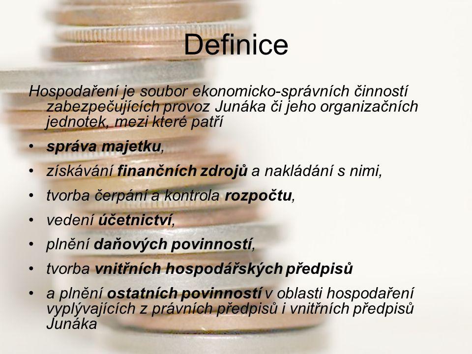Definice Hospodaření je soubor ekonomicko-správních činností zabezpečujících provoz Junáka či jeho organizačních jednotek, mezi které patří správa maj